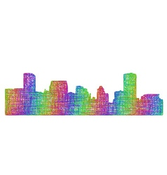 Baltimore skyline silhouette - multicolor line art vector