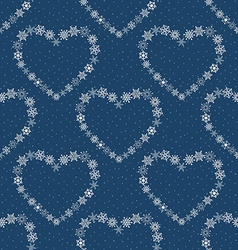 Blue seamless pattern with hearts made of vector image
