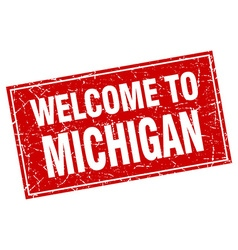 Michigan red square grunge welcome to stamp vector