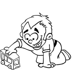 Simple black and white little boy playing vector