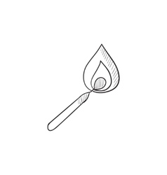 Burning match sketch icon vector