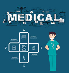 A doctor with medical icons of infographic design vector