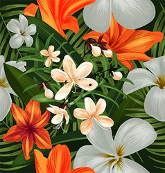 Amaryllis seamless pattern vector