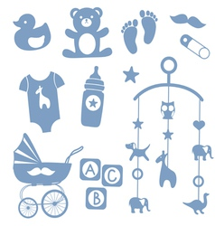 Baby boy toys icons vector