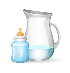 Baby milk bottle and jug with liquid on white vector