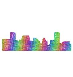 Baltimore skyline silhouette - multicolor line art vector