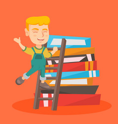 boy climbing up a ladder on the pile of books vector image