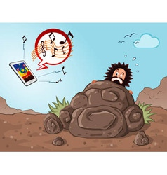caveman get scared seeing a gadget vector image vector image