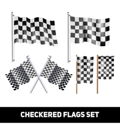 Checkered flags decorative icon set vector