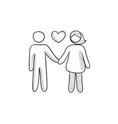 Couple in love sketch icon vector image