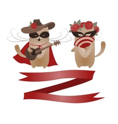 Couple of funny valentine cats zorro cat and his vector