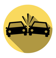 Crashed cars sign flat black icon with vector