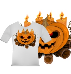 Cute pumpkin on t shirt design vector