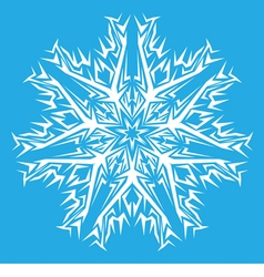 decorative white snowflakes on a blue background vector image vector image