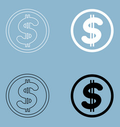 Dollar in the circle the black and white color vector