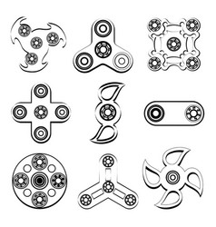 Fidget spinner stress relief toys silhouette of vector