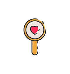 Flat color magnifying glass icon vector