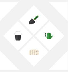 Flat icon farm set of pail trowel wooden barrier vector