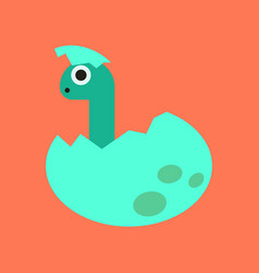 Flat icon on background cartoon dinosaur egg vector