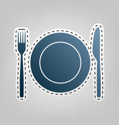 Fork knife and plate sign blue icon with vector