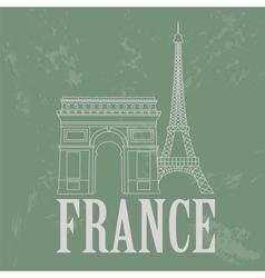 France landmarks Retro styled image vector image