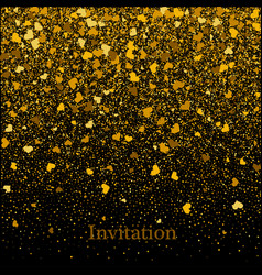 gold texture of glitter in the shape of heart on a vector image