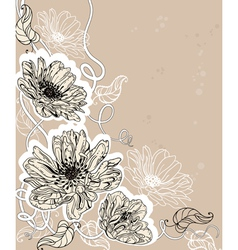 hand drawn of flowers vector image vector image
