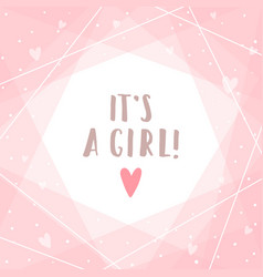 its a girl cute pink greeting card vector image vector image