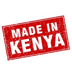 Kenya red square grunge made in stamp vector
