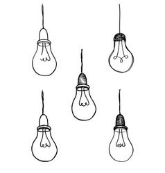lamp bulb collection light icon set hand drawn vector image vector image