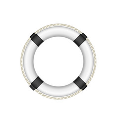 life buoy in white and black design with rope vector image