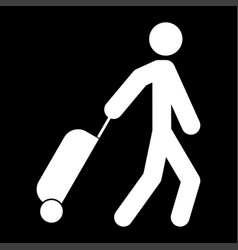 man with suitcase white color icon vector image vector image