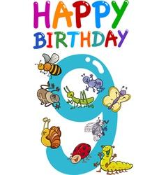 ninth birthday anniversary card vector image vector image