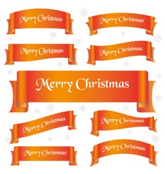 Orange shiny color merry christmas slogan curved vector