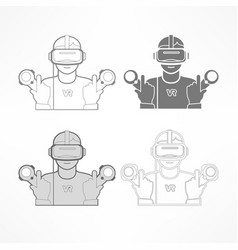 Set of virtual reality headset vector