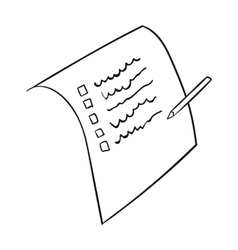 Shopping list icon in outline style isolated on vector