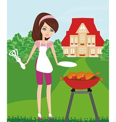 Woman cooking on a grill vector image vector image