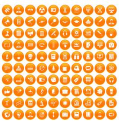 100 researcher science icons set orange vector