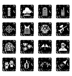 Paintball icons set grunge style vector image