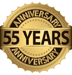 55 years anniversary golden label with ribbon vector