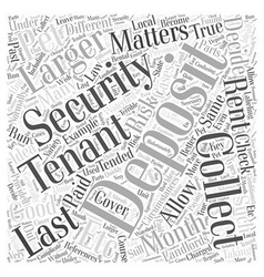 Security deposit matters word cloud concept vector