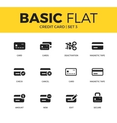 Basic set of credit card icons vector image