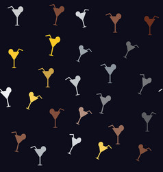 seamless pattern with colorful cocktails on vector image