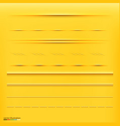 set of dividers isolated on yellow background vector image