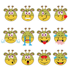 monster emojis set of emoticons icons isolated vector image