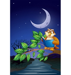 An owl reading above a branch of a tree vector image