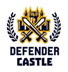 Logo defender castle fortress tower cross vector