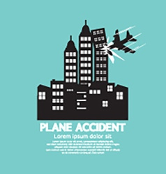 Plane accident with skyscrapers black graphic vector