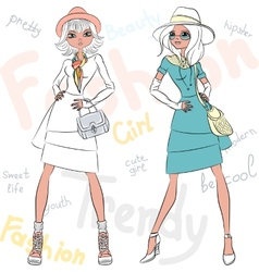 beautiful fashion girls top models vector image