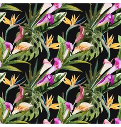 Tropical watercolor seamless pattern vector